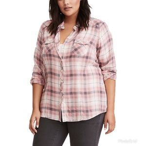 Torrid Plaid Rayon Camp Shirt Plus Size 2X